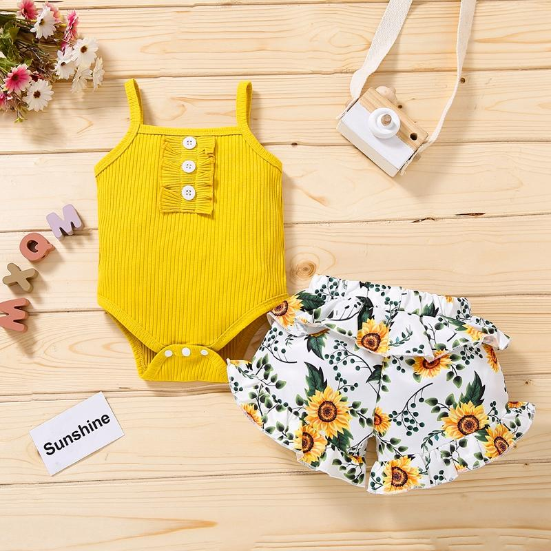 Baby Girl Floral Pattern Summer Suit Strap Top & Printed Pants
