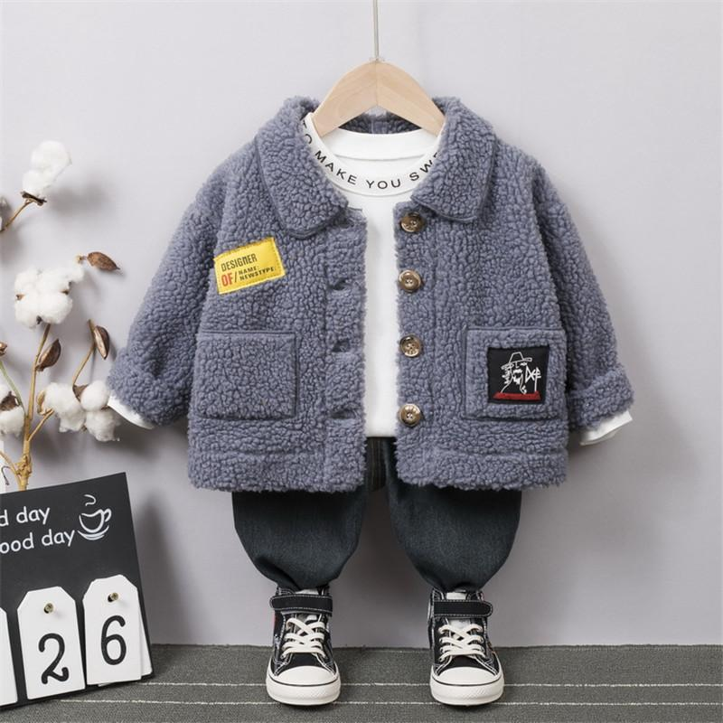 Fleece-lined Buttom Design Jacket for Toddler Boy Wholesale children's clothing