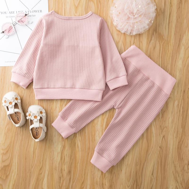 2-piece Rabbit Pattern Sweatshirt & Pants for Baby Girl Wholesale children's clothing