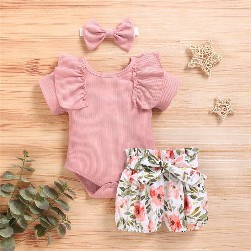 3-piece Solid Ruffle Bodysuit & Floral Printed Shorts & Headband for Baby Clothing Wholesale - PrettyKid