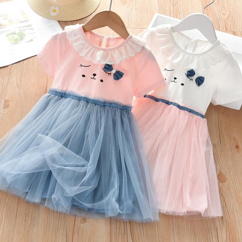 Cartoon Design Patchwork Tulle Dress for Toddler Girl - PrettyKid