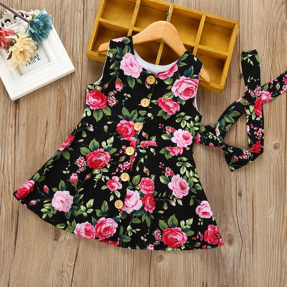 Baby Clothing Wholesale Vest Children's Hair Band Floral Skirt Suit - PrettyKid