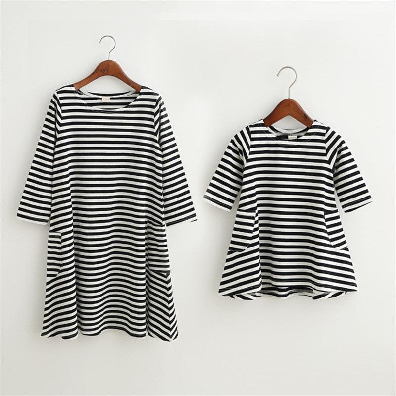 Summer Striped Dress Mother Baby Clothes