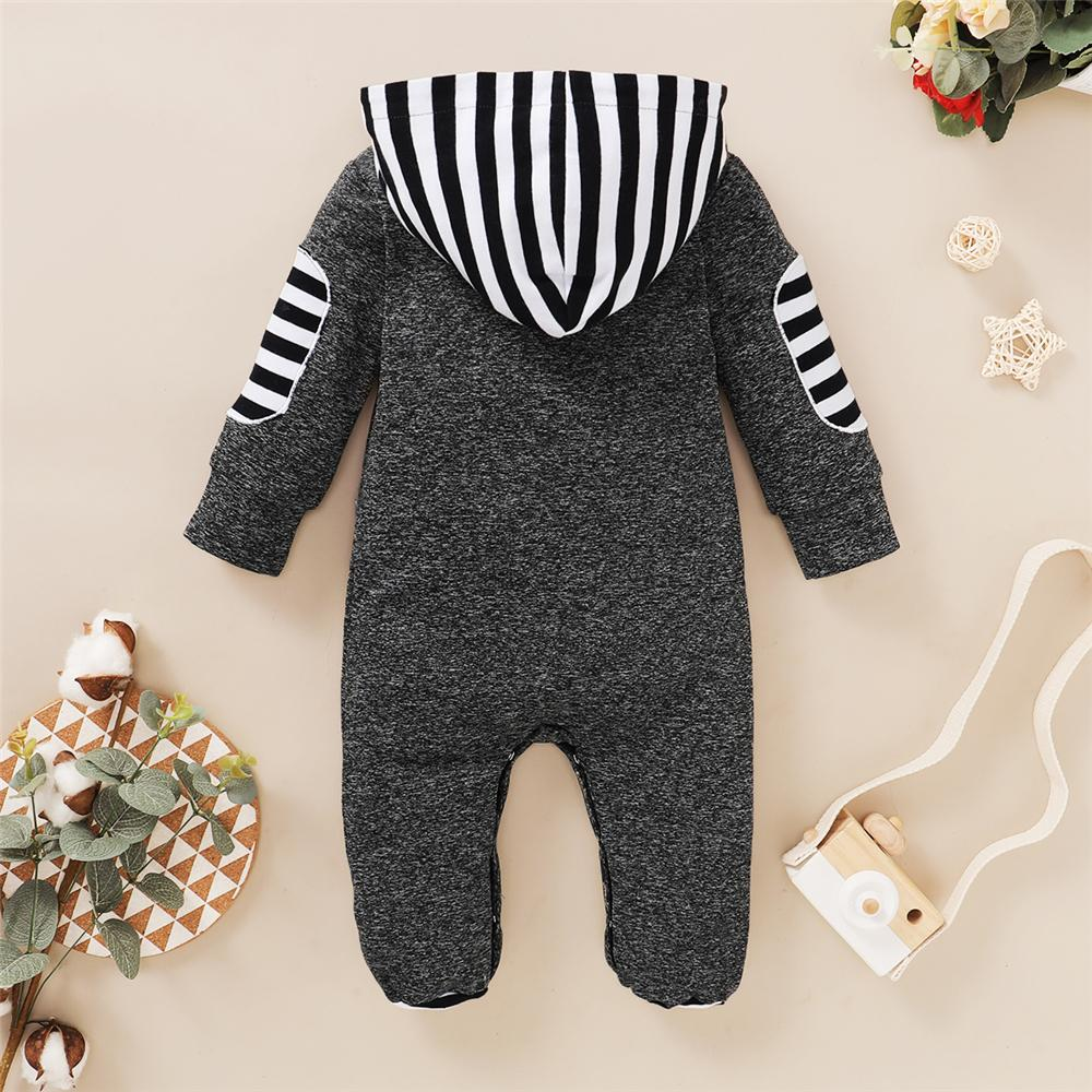 Baby Boys Newborn Striped Hooded Long Sleeve Romper Wholesale Designer Baby Clothes - PrettyKid
