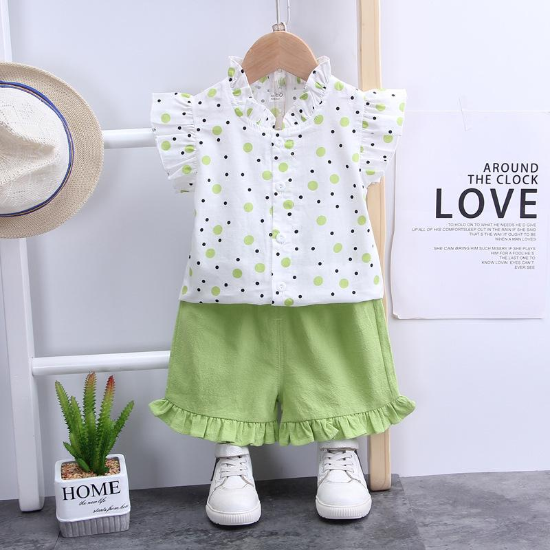 Grow Girl Dot Print Shirt & Solid Color Shorts