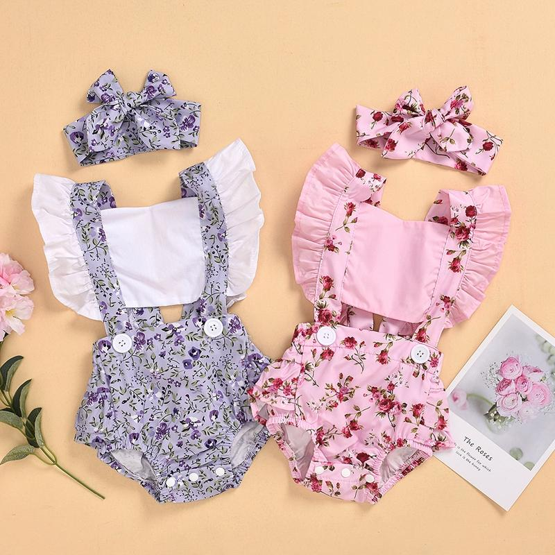 2-piece Ruffle Floral Printed Bodysuit & Headwear for Baby Girl Wholesale children's clothing - PrettyKid