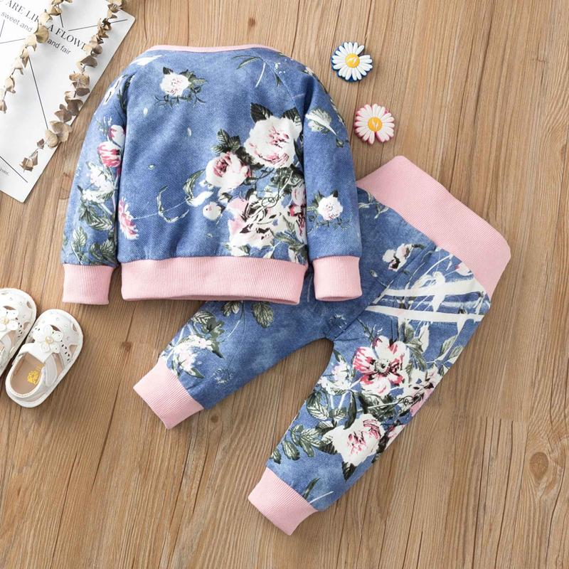 2-piece Long Sleeve T-shirt & Pants for Baby Girl Wholesale children's clothing