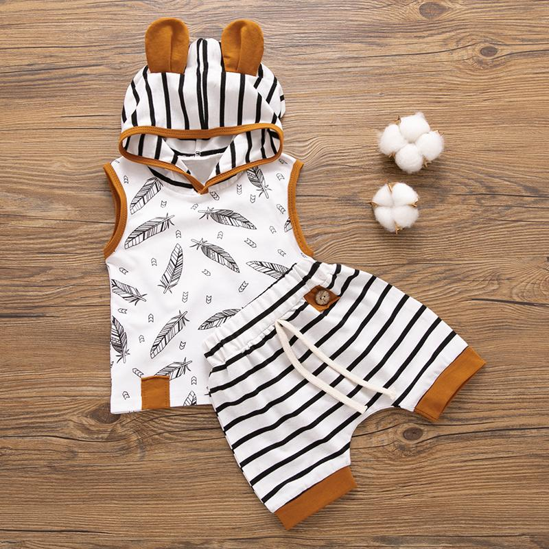 2-Piece Floral Hooded Short-Sleeve Tee and Striped Shorts for Baby Clothing Wholesale - PrettyKid