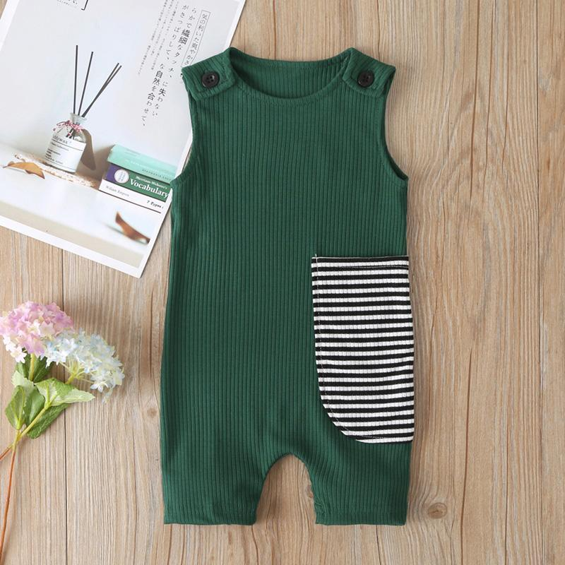 Striped Sleeveless Jumpsuit for Baby Boy Wholesale children's clothing