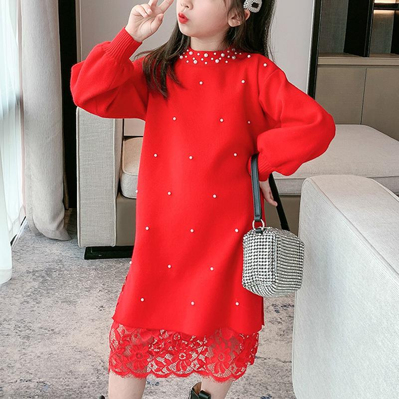 Sweet Solid Sweater Dress for Girls Wholesale Children's Clothing