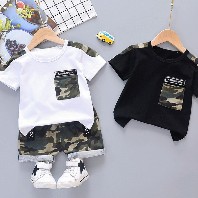 2-piece Camouflage T-shirt & Shorts for Toddler Boy Children's Clothing Wholesale - PrettyKid