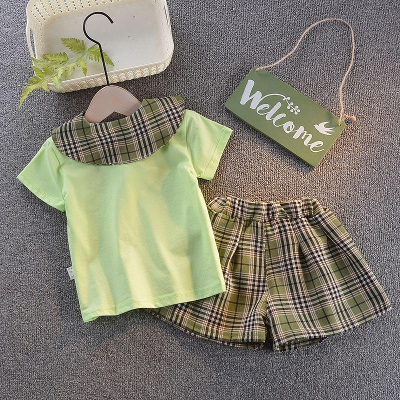 2-piece T-shirt & Plaid Pants for Toddler Girl Wholesale Children's Clothing