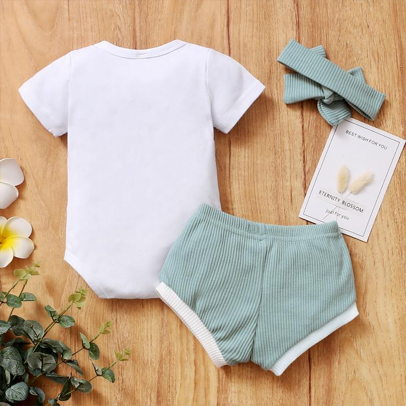 3-piece Romper & Headband & Shorts for Baby Girl - PrettyKid