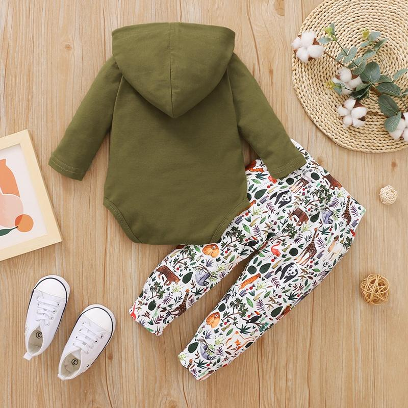 2-piece Hooded Romper & Animal Printing Pants for Baby Boy Wholesale Children's Clothing