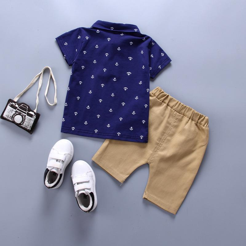 Children Boy 2pcs Polka Dot Pattern Summer Suit T-Shirt & Shorts - PrettyKid