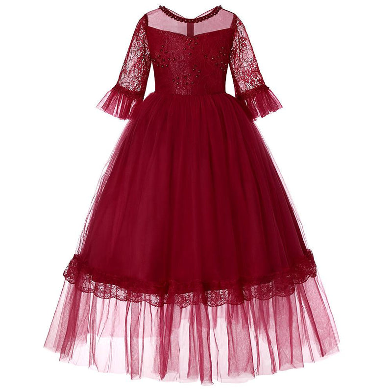 Flower Girl Half Sleeve Lace Princess Evening Dress