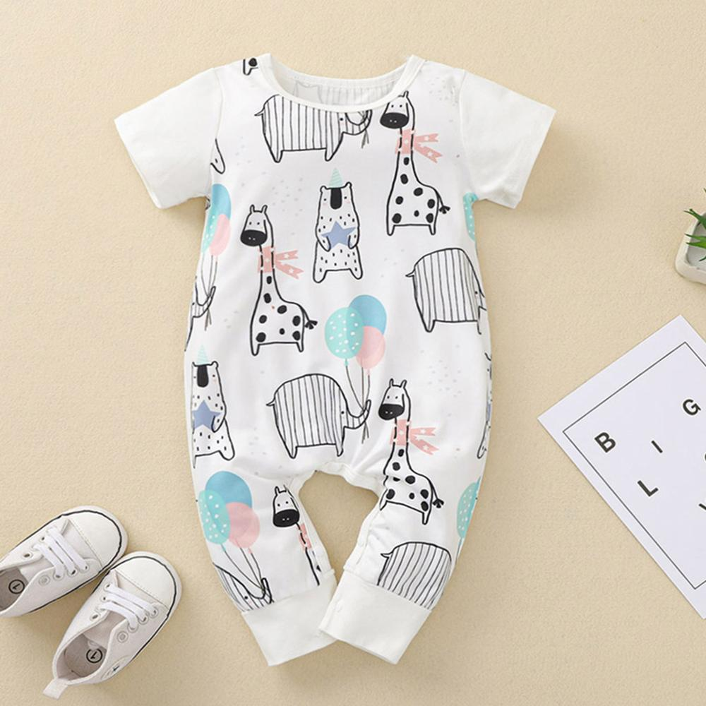 Baby Boy Animal Printed Short Sleeve Romper Baby clothing vendors - PrettyKid