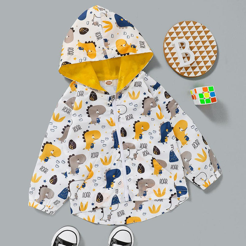 Boys Animal Roar Zipper Hooded Long Sleeve Jacket Boy Clothing Wholesale - PrettyKid