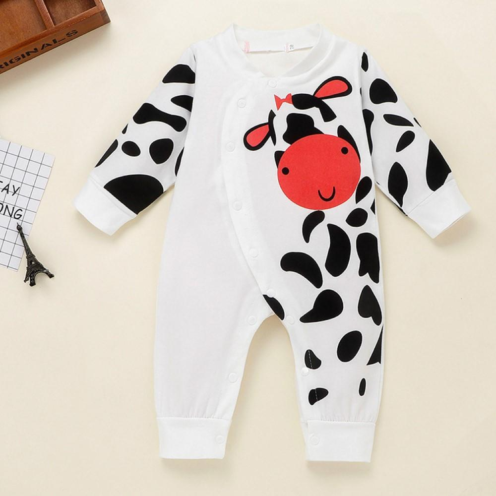 Baby Boys Cartoon Cow Printed Romper Wholesale Baby Clothes Usa - PrettyKid