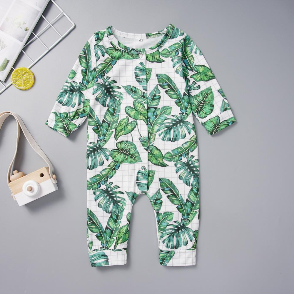 Baby Boys Long Sleeve Printed Leaves Romper Baby Clothes Cheap Wholesale - PrettyKid