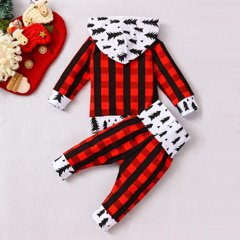 Baby Boys Plaid Long Sleeve Hooded Top & Pants Wholesale Clothes For Kids