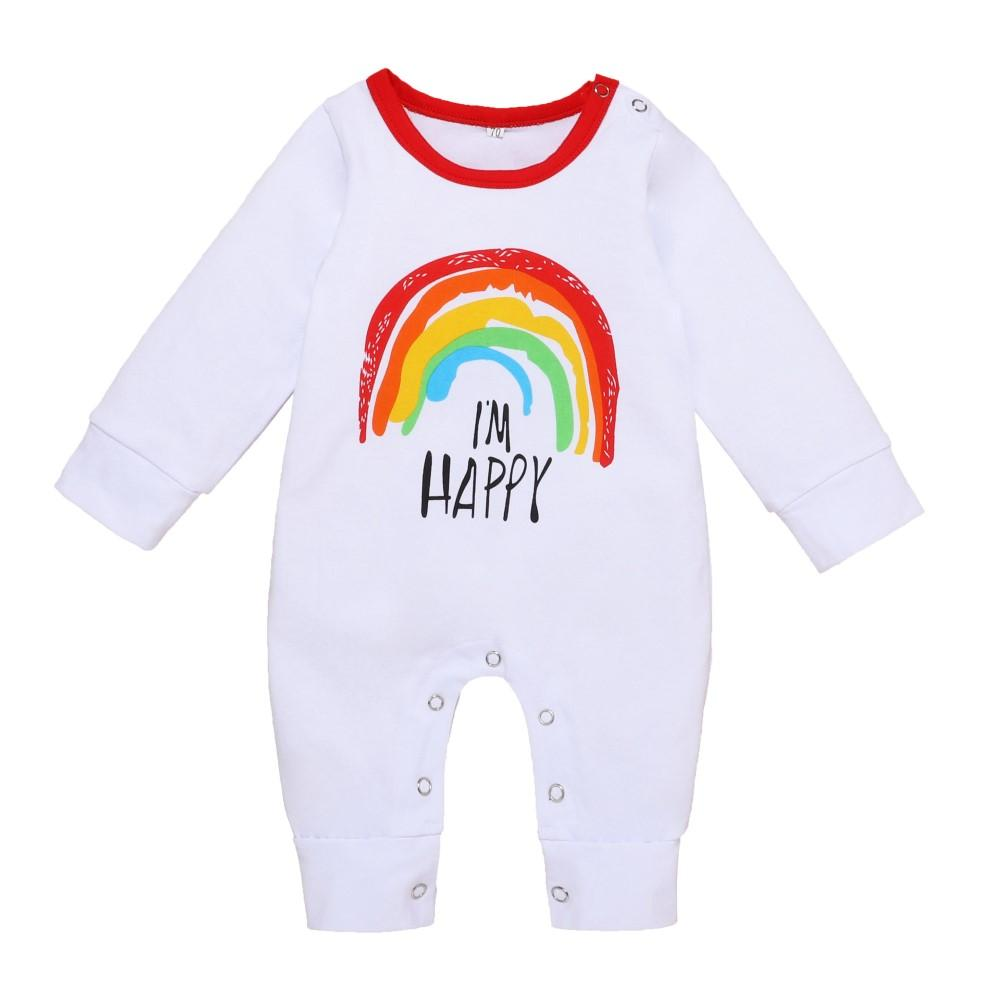 Baby Boys Rainbow Letter Printed Romper Baby Clothes Vendors