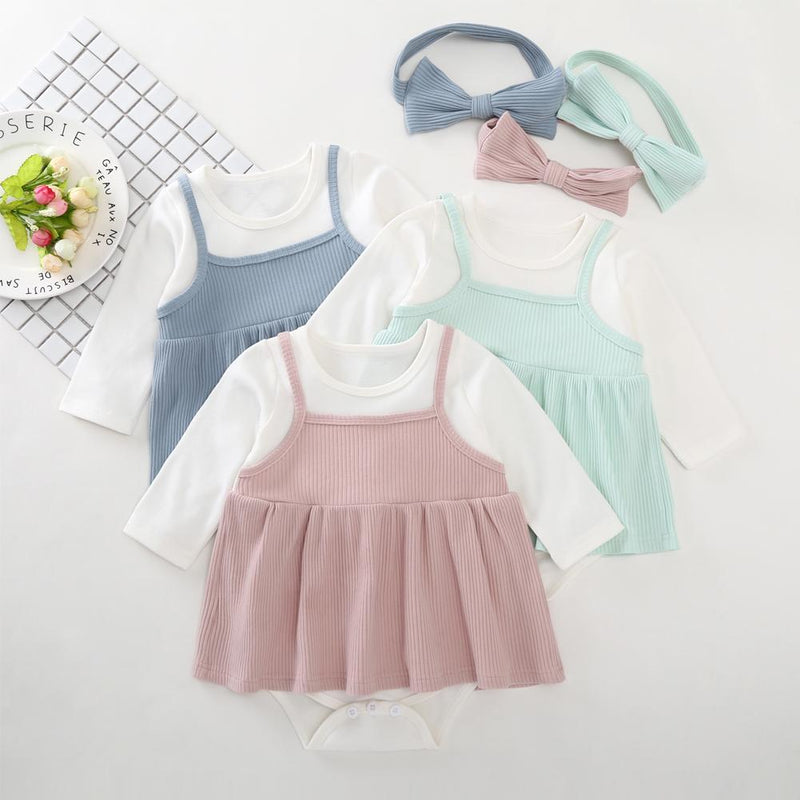Baby Girl Cute Long Sleeve Round Neck Romper Baby Clothing Cheap Wholesale