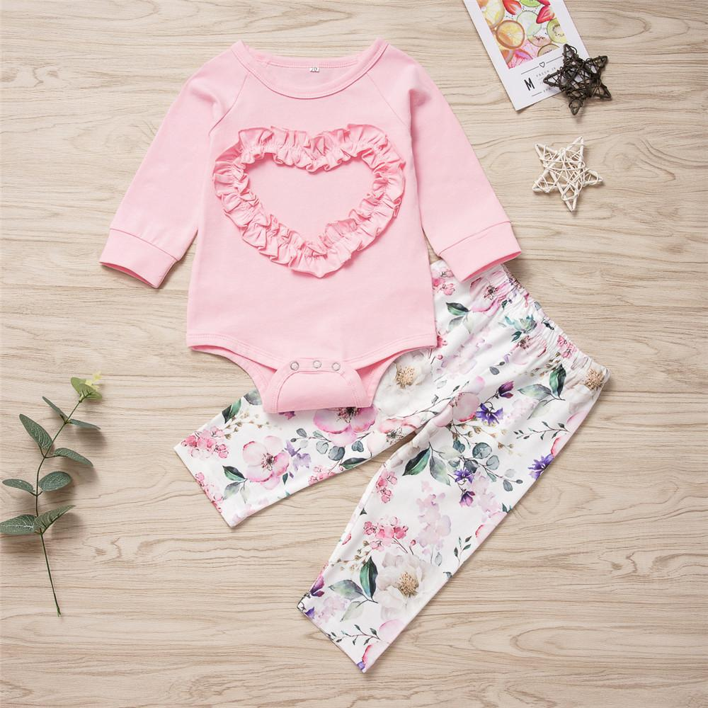 Baby Girls Cute Pink Heart Tops&Floral Pants Baby Accessories Wholesale - PrettyKid