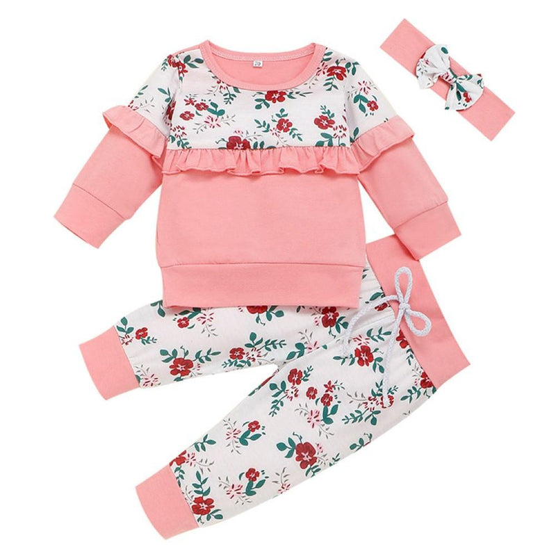 Baby Girls Floral Printed Top & Pants & Headband Cheap Boutique Baby Clothing