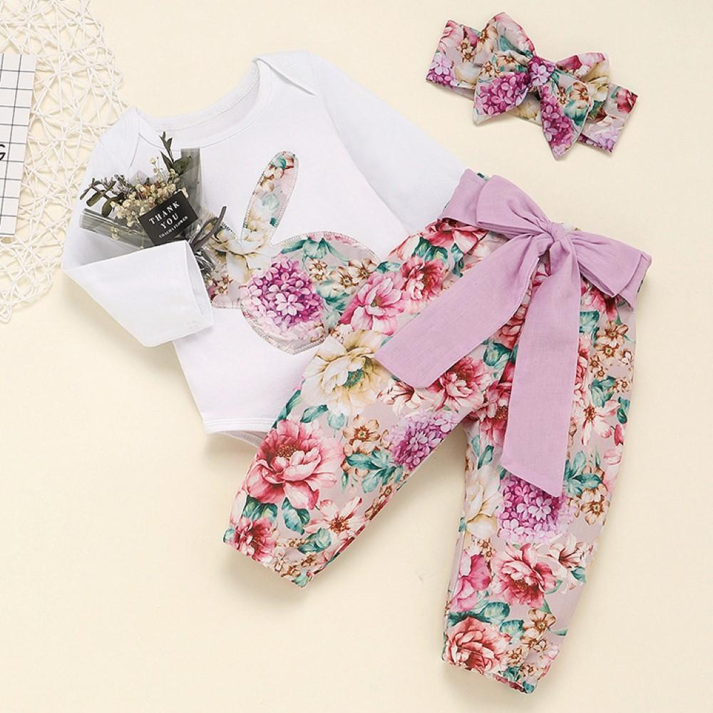 Baby Girls Flower Rabbit Printed Romper & Pants & Headband Buy Wholesale Kids Clothes