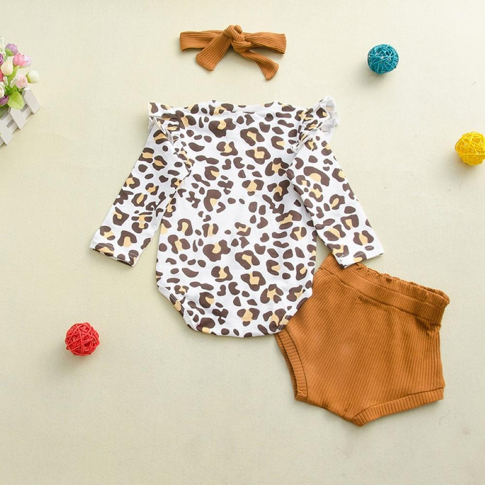 Baby Girls Leopard Printed Top & Pants & Headband Kids Clothing Suppliers