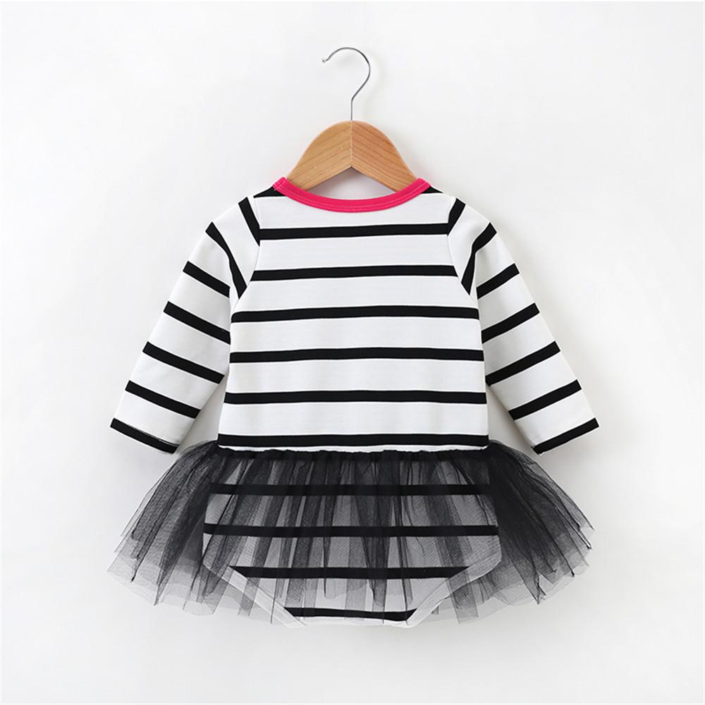 Baby Girls Long Sleeve Mesh Stripe Romper Wholesale Baby Accessories - PrettyKid