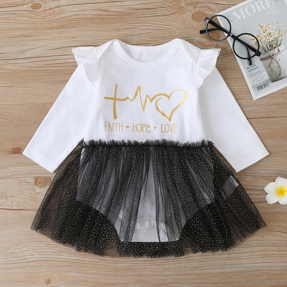 Baby Girls Long Sleeve Printed Letter Mesh Romper Baby Accessories Wholesale - PrettyKid