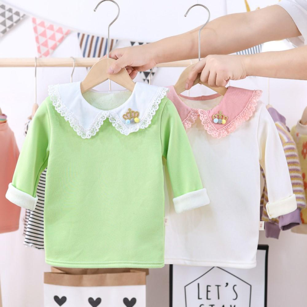 Toddler Girls Long Sleeve Round Neck Warm Top Baby Clothing Cheap Wholesale