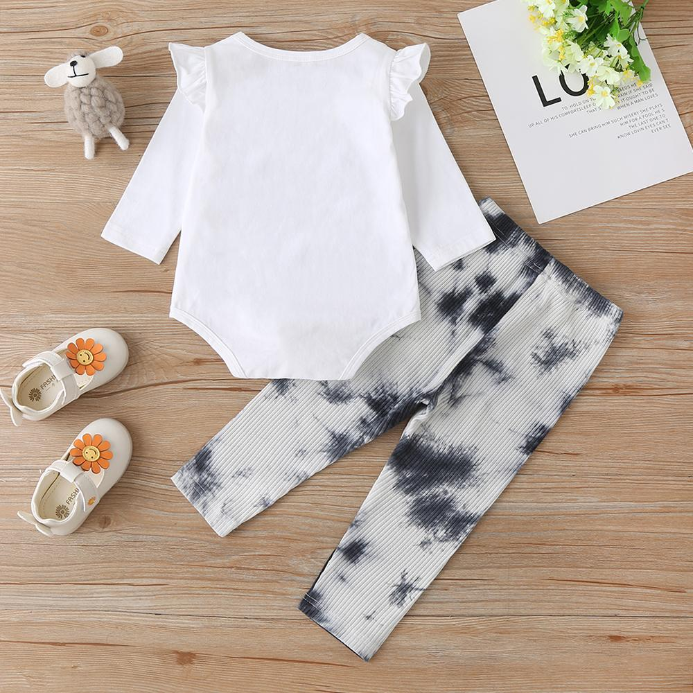 Baby Girls Printed Letter Romper&Tie Dye Pants Baby Accessories Wholesale - PrettyKid