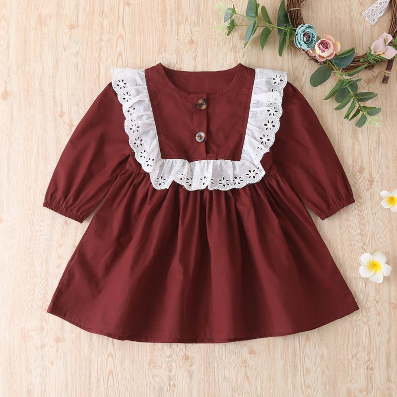 Baby Girls Round Neck Long Sleeve Solid Dress Wholesale Girls Clothing