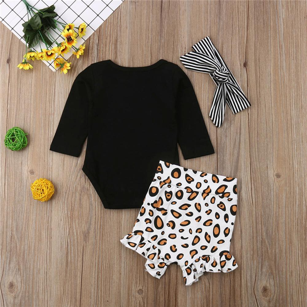 Baby Girls Solid Romper&Printed Leopard Pants Wholesale Baby Clothes In Bulk