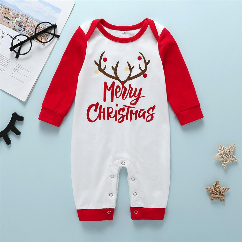 Baby Girls Unisex Christmas Printed Letter Romper Cheap Boutique Baby Clothing - PrettyKid