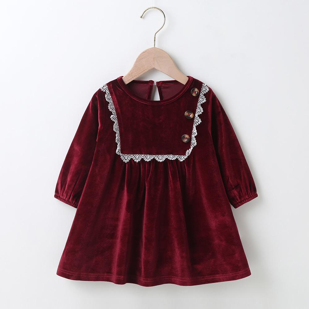 Baby Girls Vintage Long Sleeve A-Line Dress Baby Clothes Wholesale Supplier - PrettyKid