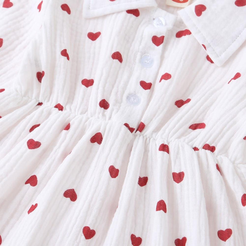 Babys Girls Heart Lapel Dress Girls Dress Wholesale