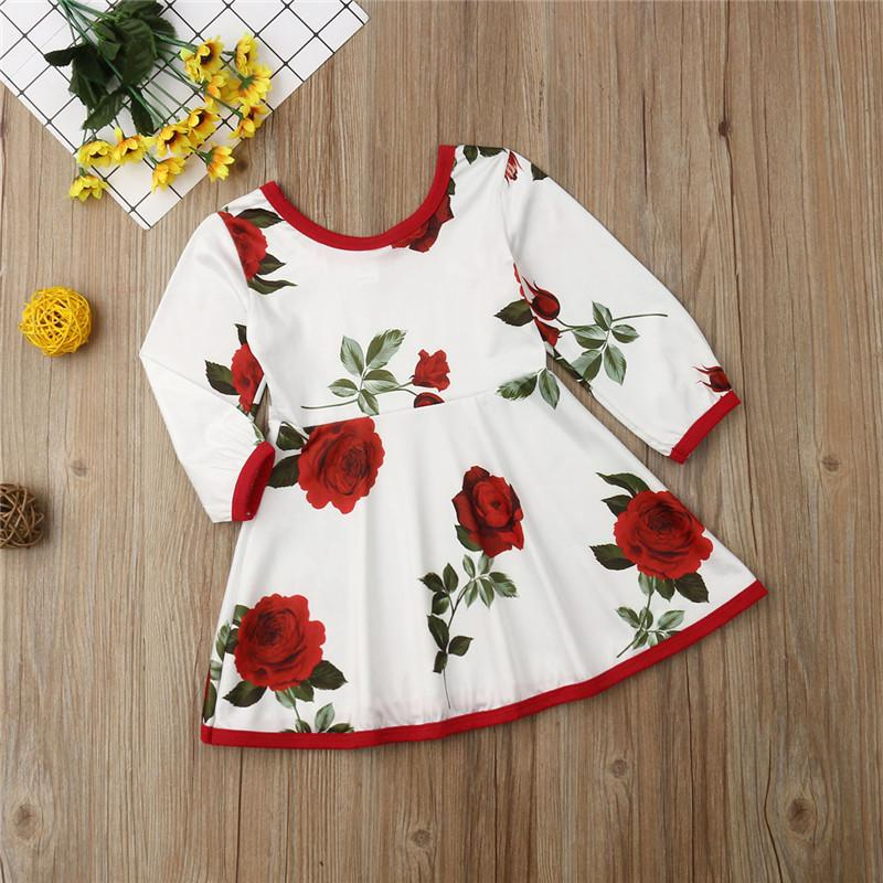 Toddler Girls Rose Long Sleeve Dress Girl Princess Dress