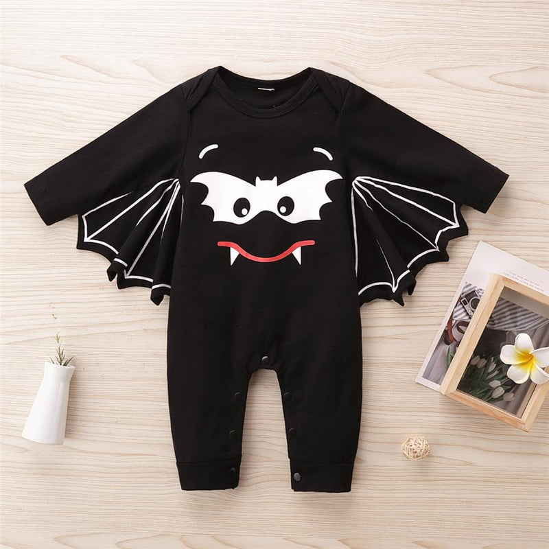 Baby Unisex Bat Pattern Long Sleeve Romper Baby Clothes Warehouse