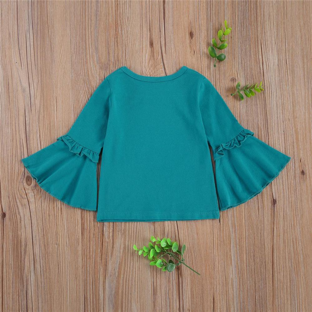 Girls Big Flower Printed Flared Sleeve Tops Girl Boutique Clothing Wholesale