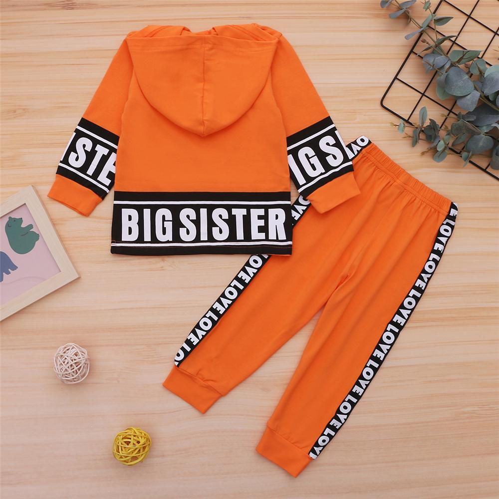 Girls Big Sister Printed Long Sleeve Hooded Top & Pants Girls Clothing Wholesalers