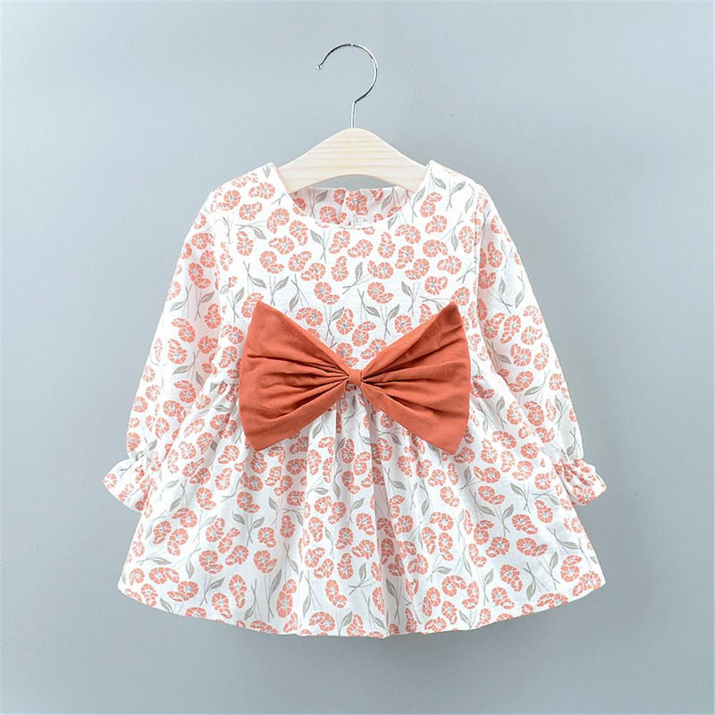 Baby Girls Bow Decor Floral Printed Dresses