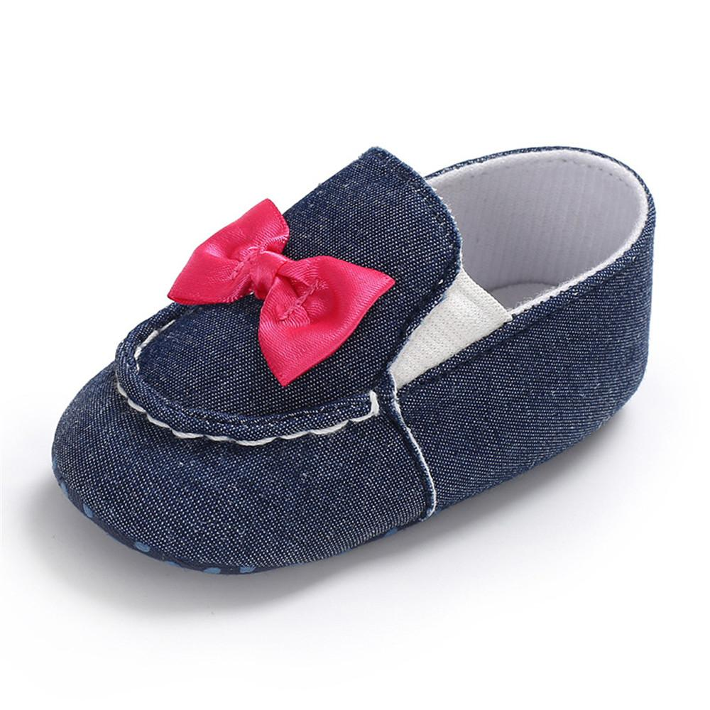 Baby Girls Bow Decor Slip Ons Casual Flat Shoes