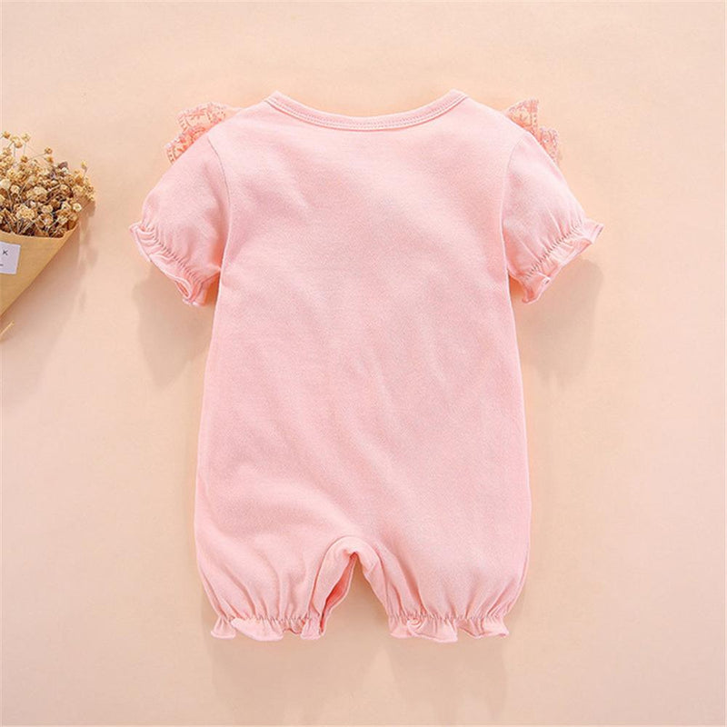 Baby Girls Bow Decor Solid Color Short Sleeve Romper Wholesale Baby clothing