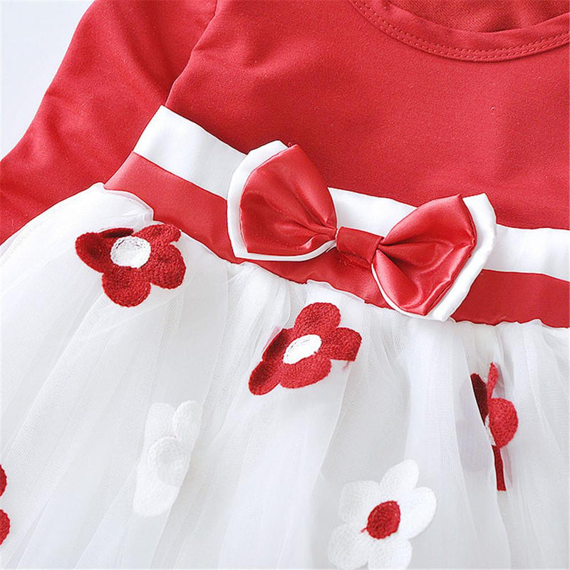 Girls Bow Lace Flower Long Sleeve Dress