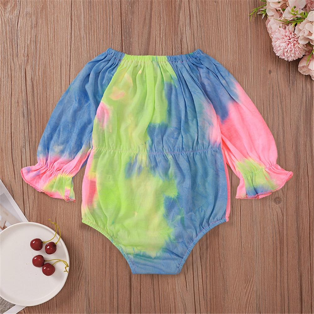 Baby Girls Bow Long Sleeve Letter Tie Dye Romper Wholesale Baby Rompers - PrettyKid