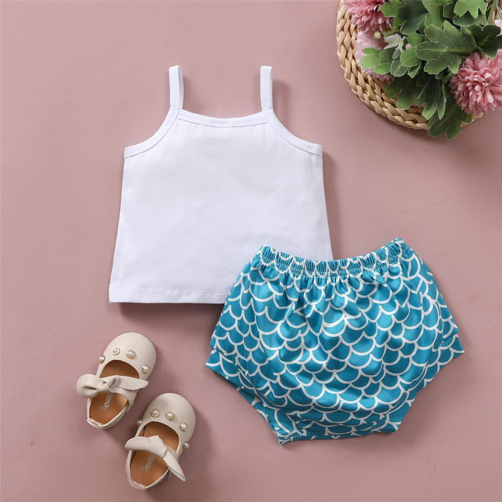 Baby Girls Bow Mermaid Letter Printed Sling Top & Shorts childrens leggings wholesale - PrettyKid
